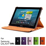 GMYLE(R) Orange 360 Degree Rotating PU Leather Folio Stand Case Cover For Tablet Galaxy Tab 1 2 10.1 P7510 P5100...
