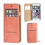 iPhone7 ケース 手帳型 カバー 窓付き ストラップホール カード収納 ウィンドウ フリップ / ピンク