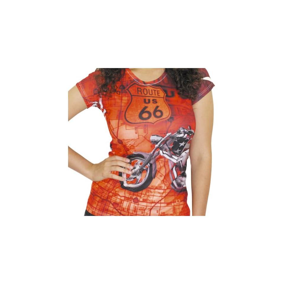 BikaChik Route 66 Womens Short Sleeve Fashion Shirt   Red / Medium