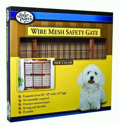 Four Paws Products Ltd 100203580 Dark Wood Wire Mesh Gate 24 Inch front-56426
