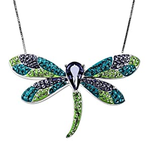 Carnevale Sterling Silver Dragonfly with Swarovski Elements Pendant Necklace, 18