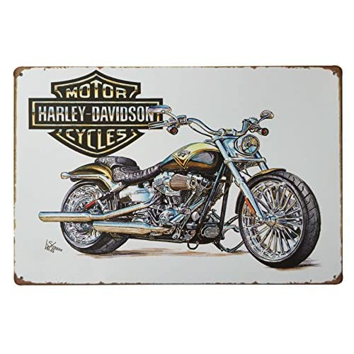 "Harley Davidson World's Finest Motorcycle Panhead Retro Vintage Tin Sign 12"" X 8"" Inches, a Two-sided Postcard Made By Smiel Buy Is Included"