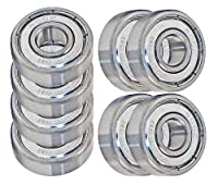 VXB 608 ZZ Skateboard Bearings, Double Shielded, Silver (Pack of 8) by BC Precision