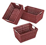 Whitmor 6500-1959 Rattique Storage Baskets, Red, Set of 3