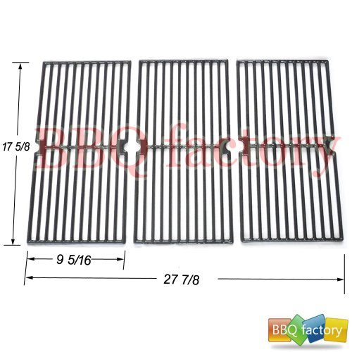 bbq factory Replacement Porcelain coated Cast Iron Cooking Grid Set of 3 for Select Gas Grill Models By Brinkmann, Grill King and Others