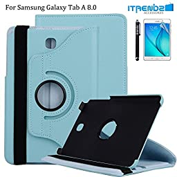 Tab A 8.0 Case, Itrendz [Smart 360 Series] - [360 Rotating][Stand][Magnetic][Auto Sleep/Wake] PU Leather Case Cover For Samsung Galaxy Tab A 8.0 inch SM-T350, Blue
