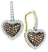 Brown Diamond Heart Earrings 10k Gold
