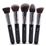 Nanshy 5 Piece Kabuki Makeup Brush Set Face Application Contouring Blending Liquids Creams Mineral Powders Onyx Black Kit