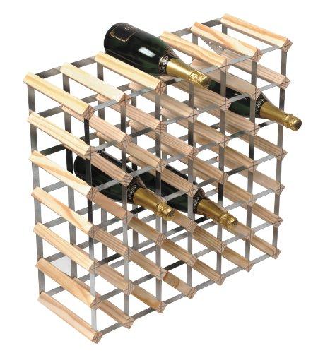 RTA from George Wilkinson Weinregal Bausatz für 42 Flaschen natürliches Kiefernholz und galvanisierter Stahl