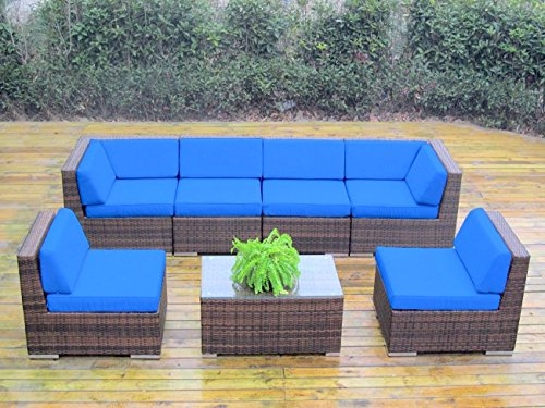 Genuine Ohana Outdoor Patio Sofa Sectional Wicker Furniture Mixed Brown 7pc Couch Set (Blue) photo