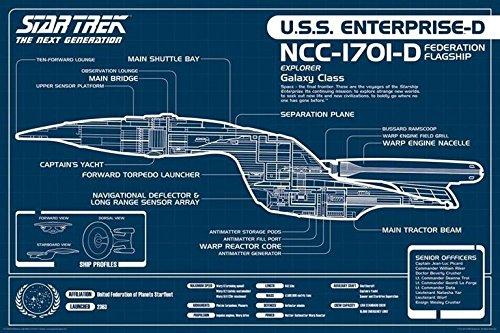 Star Trek USS Enterprise-/ Blueprint-Poster di nuova generazione (91,44 x 60,96 cm)