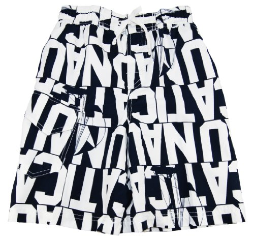 Nautica Kid Boys 8-20 Navy Blue/White Pull-On Swim Shorts/Swimwear/Swim Trunks