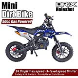 DR-X Holeshot Kids Mini Dirt Bike Gas Power 2-Stroke 50cc Dirt Motorcycle Off Road Motorcycle, Pit Bike, Fully Automatic Transmission, Blue(Decal may slightly diff from photo, message us to name one)