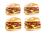 "Silly Gifts Fun Hamburger Coasters, Set of 4, Made of PVC, 3"" Diameter"