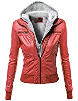 Xpril Women's Zip-up Biker Bomber Hoodie Faux Leather Jackets