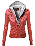 Hoodie Zip Up Biker Sherpa Lining Faux Leather Jackets Red Size M