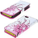 myLife (TM) Bright White and Hot Pink {Cherry Blossom and Bees Design} Faux Leather (Card, Cash and ID Holder + Magnetic Closing) Slim Wallet for the iPhone 5C Smartphone by Apple (External Textured Synthetic Leather with Magnetic Clip + Internal Secure Snap In Hard Rubberized Bumper Holder)