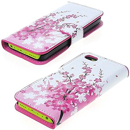 Mylife (Tm) Bright White And Hot Pink {Cherry Blossom And Bees Design} Faux Leather (Card, Cash And Id Holder + Magnetic Closing) Slim Wallet For The Iphone 5C Smartphone By Apple (External Textured Synthetic Leather With Magnetic Clip + Internal Secure S