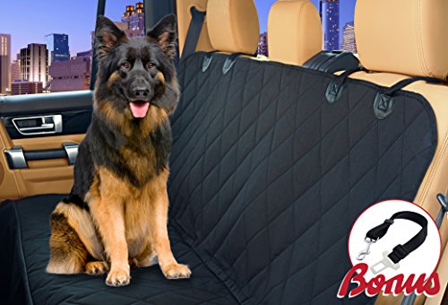 Car Seat Cover for Dog. Fits Auto, SUV and Truck - Hammock Mode, Waterproof, Stay in Place Anchors & Velcro Seat Belt Opening. Rich Black, Oxford Nonslip Backing. Bonus: Seat Belt Included (Car Bench Seat Cover Automobile compare prices)