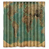 Diverse Picture Interesting Classical Country Land State World Map Waterproof Fabric Bathroom Shower Curtain 66 x 72 by Nature Shower Curtain