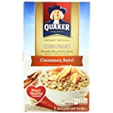 Quaker Instant Oatmeal High Fiber, Cinnamon Swirl, 12.6-Ounce Boxes (Pack of 4) ~ Quaker