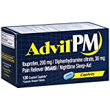 Advil PM Pain Reliever/Nighttime Sleep Aid, Ibuprofen and Diphenhydramine (120-Count Coated Caplets)
