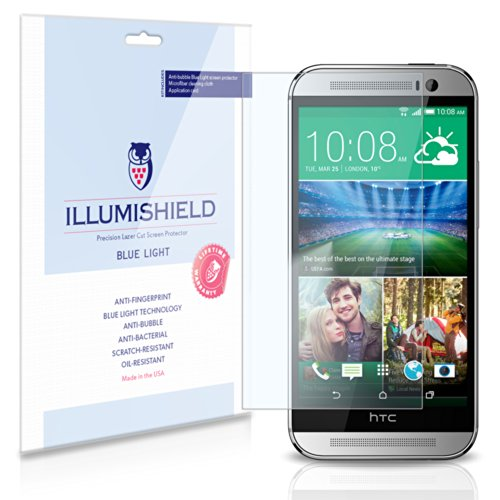 Illumishield - Htc One M8 Screen Protector With (Hd) Blue Light Uv Filter / Premium High Definition Clear Film / Reduces Eye Fatigue And Eye Strain - Anti- Fingerprint / Anti-Bubble / Anti-Bacterial Shield - Comes With Free Lifetime Replacement Warranty -