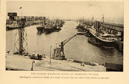 1908 Kaiser Wilhelm Ship Dock Hamburg Germany Print - Original Halftone Print front-1068031