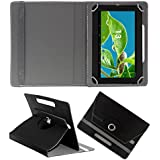 Acm Rotating 360° Leather Flip Case For Datawind Ubislate 10ci Tablet Cover Stand Black