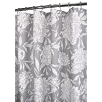 Park B. Smith Peony Watershed Shower Curtain Antique Silver/White