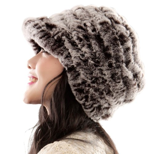 Women's Rex Rabbit Fur Peaked Caps Hats Multicolor (coffee color)
