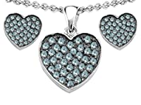 Original Star K (tm) Simulated Aquamarine Heart Shape Love Pendant Box Set with matching earrings in 925 Sterling Silver from Star K