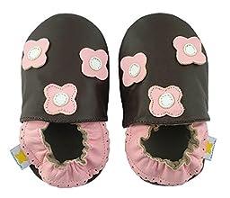 Ministar Girls Baby Infant Toddler Prewalker Leather Shoes - Brown Multiflower - Xlarge 18-24 mo.