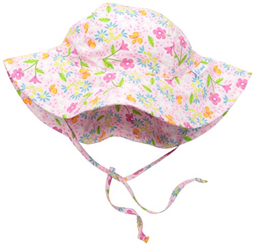 I play. Baby Girls' Brim Sun Protection Hat, Pink Spring Garden, 9-18 Months