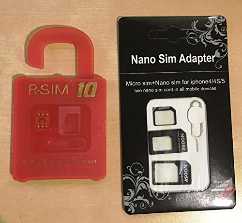 E-Phone SIM ロック 解除 変換 アダプタ シム フリー 端末 iPhone 専用 アンロック 日本語説明書 認証プロダクト シール付 R-SIM10+ R-SIM10 SIM端末4点セット付き softbank au docomo  iPhone6/6 Plus/5s/5c/5/4S STD (レッド(iOS8 対応))