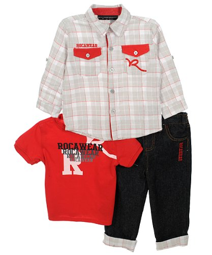 "Rocawear ""Wincott"" 3-Piece Outfit (Sizes 12M - 24M) - black, 12 months"