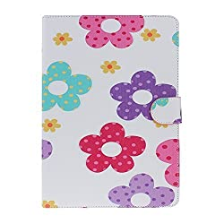 IKASEFU Colorful Case for iPad 6, Flip Case for iPad Air 2,Stand Case for iPad 6,Colorful Painting Bowknot Flower Tower Pattern Soft Inner PU Leather Book Style Flip Protective Carrying Case Cover with Stand Function for iPad 6/iPad Air 2(Pattern#2)