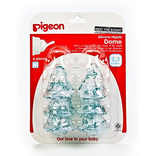 Pigeon Milk Bottle Silicone Nipple Dome For Replace Size M For Baby Was Born 2-3 Month Pack Of 6. front-488148