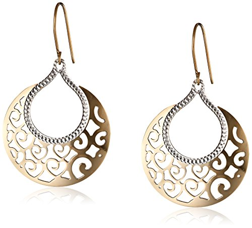 Bonded Sterling Silver and 14k Two-Tone Gold Gypsy Heart Earrings