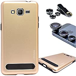 DMG Motomo Ultra Tough Metal Shell Case with Side TPU Protection for Samsung Galaxy Grand Prime G530H (Gold) + 3in1 Fisheye Wide Angle and Macro Lens