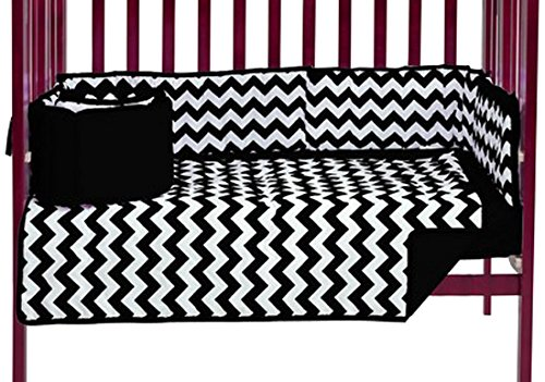 Baby Doll Chevron Port- A-Crib Bedding, Black, 3 Piece