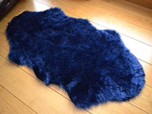 Navy Blue Faux Fur Sheepskin Style Rug (70cm x 140cm) from Rugs Supermarket