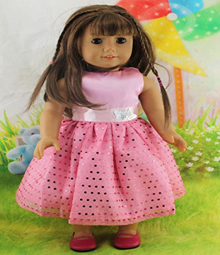 Teenitor(TM) Pink Dress With Shinning Sequins Dot Fits 18 Inch Girl Dolls (Shipping By FBA) - 1