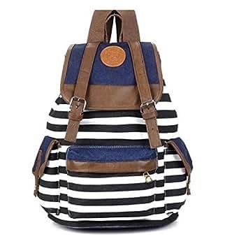 GRHOSE Ushoppingcart Unisex Fashionable Canvas Backpack School Bag Super Cute Stripe School College Laptop Bag for Teens Girls Boys Students (Black)