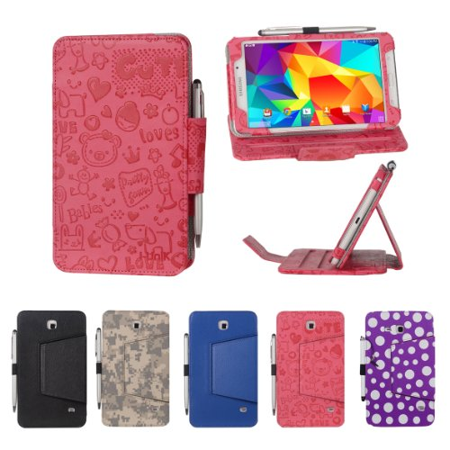 Review i-UniK Samsung Galaxy Tab 4 7.0 Model SM-T230 Slim Folio Case with Bonus Stylus - (Cute Pink)
