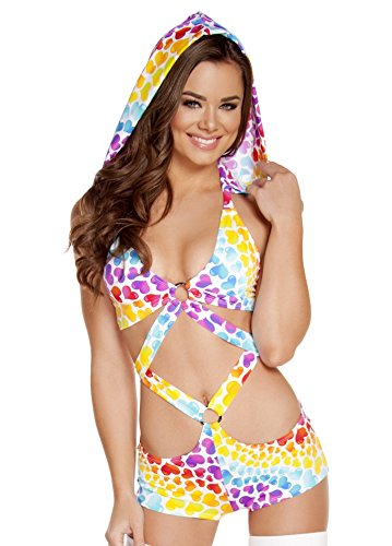 Roma Women's Print Hooded Monokini with O-Ring, Hearts, Medium/Large
