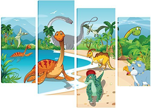 dinosaurs-playing-by-a-lake-canvas-art-for-childrens-bedroom-4-split-panel-design-71cm-x-101cm-free-