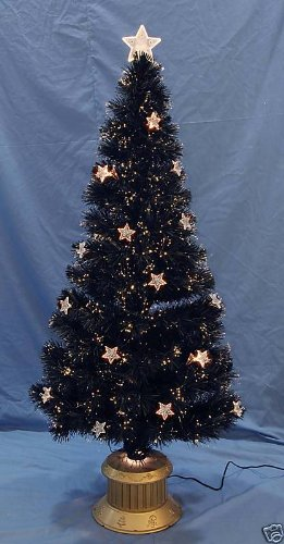 60 Inch Black Fibre Optic Christmas Tree with Stars FO22