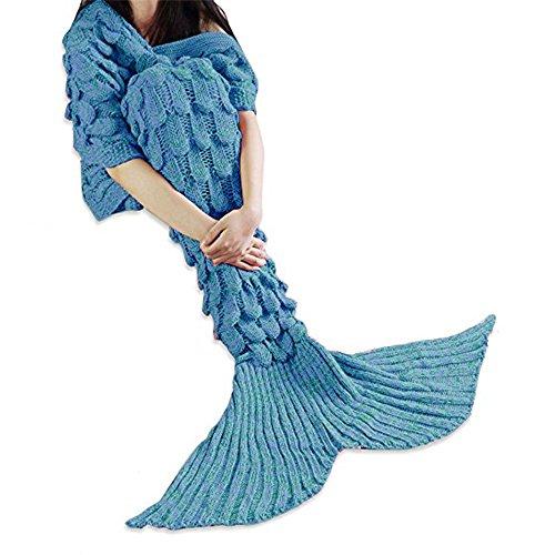 MOONPOP Mermaid Schwanz Blanket Elastizität Meerjungfrau Flosse Decke Handgemachte Stricken Gestrickte Schlafsack Decke Sofa Schlafdecke 110*210cm (Blau mit Lila) thumbnail