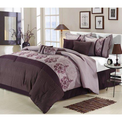 Chic Home Renaissance 8-Piece Embroidered Comforter Set, Plum Queen front-915947